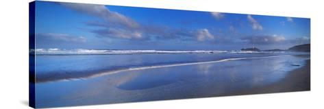 Beach at Sunrise, Gwithian Beach, Godrevy Lighthouse, Cornwall, England--Stretched Canvas Print