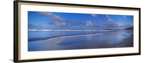 Beach at Sunrise, Gwithian Beach, Godrevy Lighthouse, Cornwall, England--Framed Art Print
