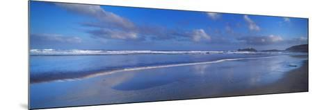Beach at Sunrise, Gwithian Beach, Godrevy Lighthouse, Cornwall, England--Mounted Photographic Print