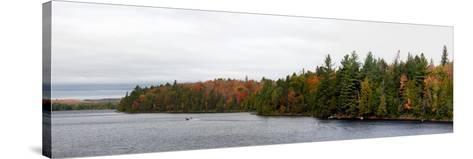 Boat in Canoe Lake, Algonquin Provincial Park, Ontario, Canada--Stretched Canvas Print