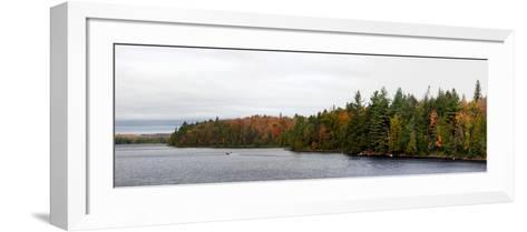 Boat in Canoe Lake, Algonquin Provincial Park, Ontario, Canada--Framed Art Print