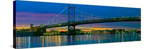 Suspension Bridge across a River, Ben Franklin Bridge, River Delaware, Philadelphia, Pennsylvani...--Stretched Canvas Print