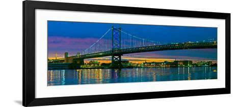 Suspension Bridge across a River, Ben Franklin Bridge, River Delaware, Philadelphia, Pennsylvani...--Framed Art Print