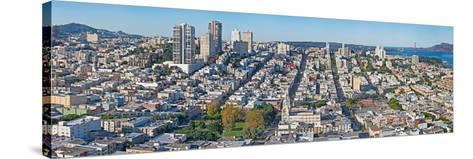 High Angle View of a City, Coit Tower, Telegraph Hill, San Francisco, California, USA--Stretched Canvas Print
