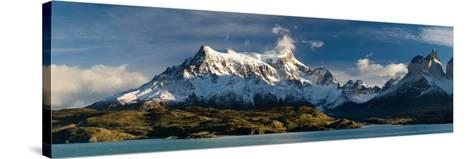 Lake in Front of Mountains, Lake Pehoe, Cuernos Del Paine, Paine Grande, Torres Del Paine Nation...--Stretched Canvas Print