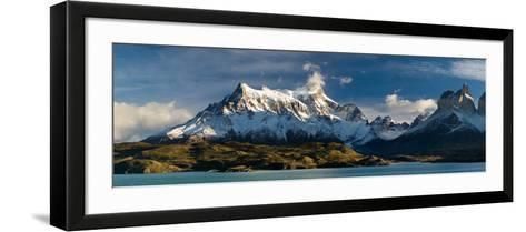 Lake in Front of Mountains, Lake Pehoe, Cuernos Del Paine, Paine Grande, Torres Del Paine Nation...--Framed Art Print