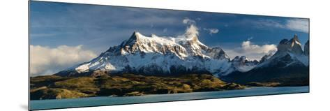 Lake in Front of Mountains, Lake Pehoe, Cuernos Del Paine, Paine Grande, Torres Del Paine Nation...--Mounted Photographic Print
