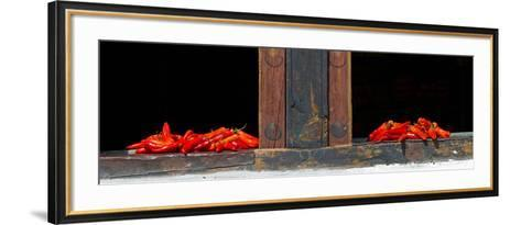 Red Chilies Drying on Window Sill, Paro, Bhutan--Framed Art Print