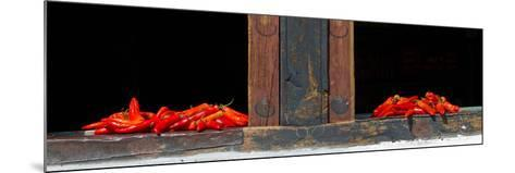 Red Chilies Drying on Window Sill, Paro, Bhutan--Mounted Photographic Print