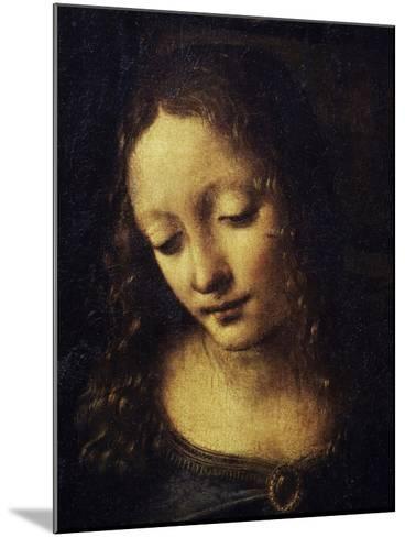 The Virgin of the Rocks Detail of Virgin-Leonardo da Vinci-Mounted Giclee Print