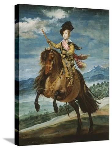 Prince Baltasar Carlos, 1629-1646, Equestrian Portrait Set in the Sierra Madrileña, 1635-6-Diego Velazquez-Stretched Canvas Print