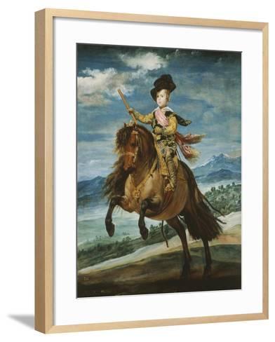 Prince Baltasar Carlos, 1629-1646, Equestrian Portrait Set in the Sierra Madrileña, 1635-6-Diego Velazquez-Framed Art Print