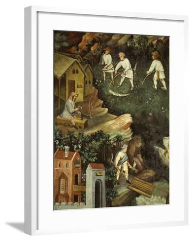 July or Leo with Courtiers Outside Manor House and Peasants with Scythes and Rakes (Detail)- Venceslao-Framed Art Print