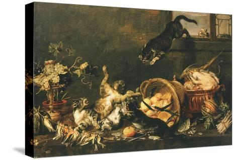 Cats Fighting in Pantry-Paul De Vos-Stretched Canvas Print