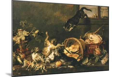 Cats Fighting in Pantry-Paul De Vos-Mounted Giclee Print