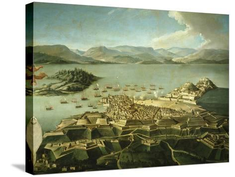 View of Town and Fortifications on Island of Corfu Venetian Until 1797 Now Greek--Stretched Canvas Print