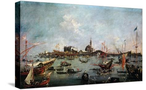 Le Doge Sur Le Bucentaure À San Nicolo Di Lido À Venise Le Jour De L'Ascension-Francesco Guardi-Stretched Canvas Print