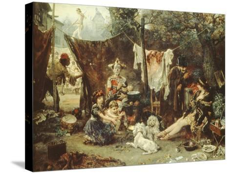 Behind the Curtain, Circus Entertainers Resting Between Acts, 1880-Ludwig Knaus-Stretched Canvas Print