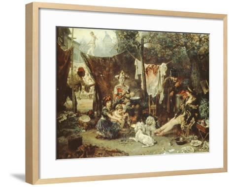 Behind the Curtain, Circus Entertainers Resting Between Acts, 1880-Ludwig Knaus-Framed Art Print