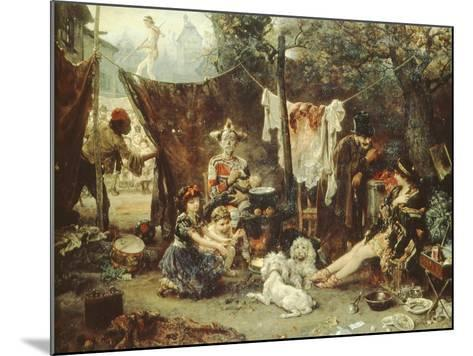 Behind the Curtain, Circus Entertainers Resting Between Acts, 1880-Ludwig Knaus-Mounted Giclee Print
