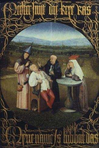 The Cure for Folly or Extraction of Stone from Madman 1475-80-Hieronymus Bosch-Stretched Canvas Print