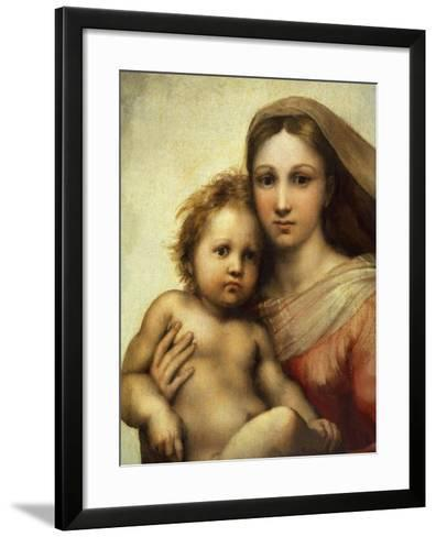 The Sistine Madonna, Madonna and Child with Pope Sixtus II and Saint Barbara, C. 1512, Detail-Raphael-Framed Art Print