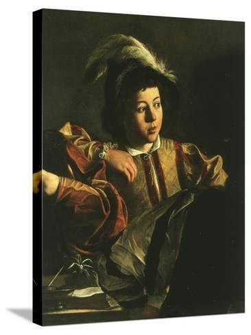 Detail of Young Boy from the Calling of Saint Matthew, 1599-1600-Caravaggio-Stretched Canvas Print