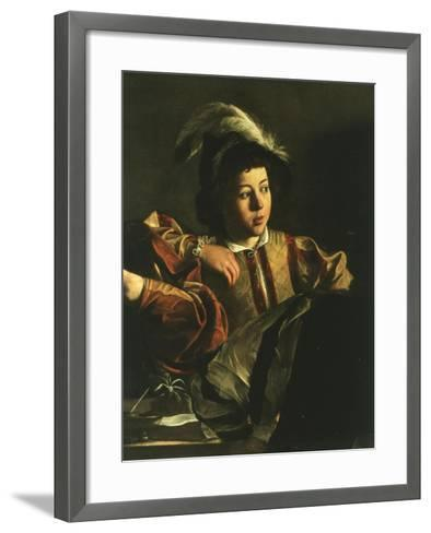 Detail of Young Boy from the Calling of Saint Matthew, 1599-1600-Caravaggio-Framed Art Print
