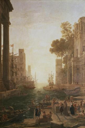 Embarkation at Ostia 1600-82-Claude Lorraine-Stretched Canvas Print