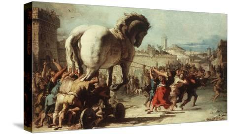 Procession of the Trojan Horse into Troy, C. 1760-Giovanni Domenico Tiepolo-Stretched Canvas Print