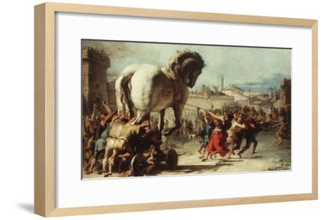 Procession of the Trojan Horse into Troy, C. 1760-Giovanni Domenico Tiepolo-Framed Art Print