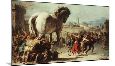 Procession of the Trojan Horse into Troy, C. 1760-Giovanni Domenico Tiepolo-Mounted Giclee Print
