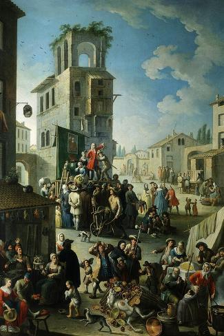 Village Market Scene with Quack or Charlatan 18th Century- Graneri-Stretched Canvas Print