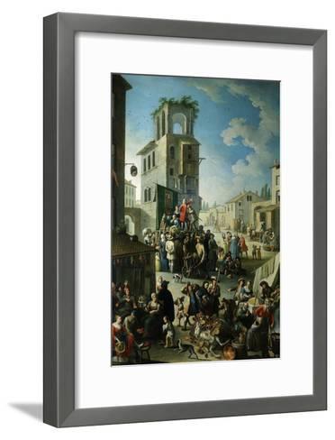 Village Market Scene with Quack or Charlatan 18th Century- Graneri-Framed Art Print