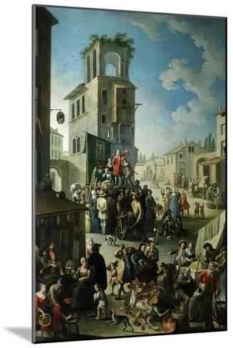 Village Market Scene with Quack or Charlatan 18th Century- Graneri-Mounted Giclee Print