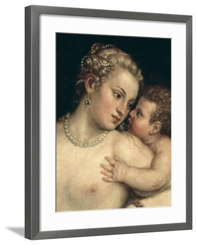 Venus and Cupid, from Venus Relaxing with Cupid and Music (Detail)-Titian (Tiziano Vecelli)-Framed Art Print