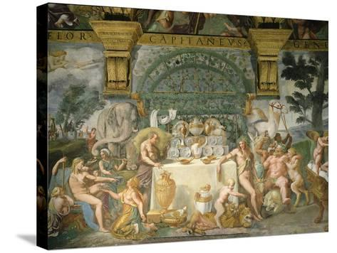 Assembly of the Gods, Fresco, 1525-35-Giulio Romano-Stretched Canvas Print