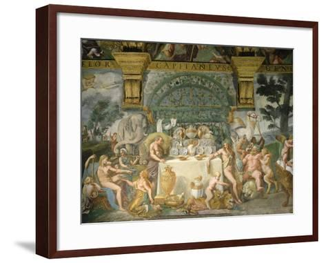 Assembly of the Gods, Fresco, 1525-35-Giulio Romano-Framed Art Print