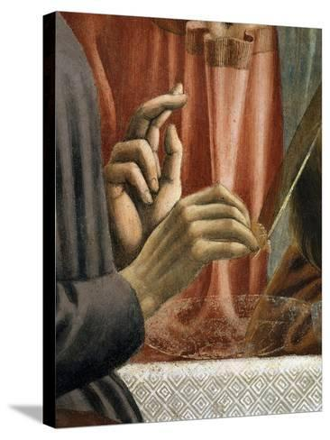Christ's Hand Blessing, Judas' Hand Holding Bread, from the Last Supper, Fresco C.1444-50 (Detail)-Andrea Del Castagno-Stretched Canvas Print