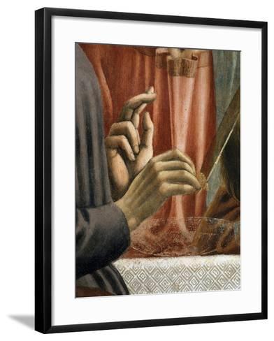 Christ's Hand Blessing, Judas' Hand Holding Bread, from the Last Supper, Fresco C.1444-50 (Detail)-Andrea Del Castagno-Framed Art Print