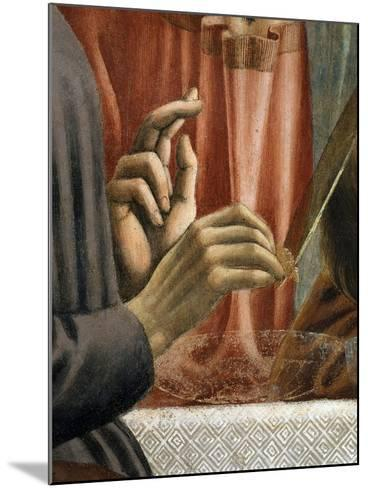 Christ's Hand Blessing, Judas' Hand Holding Bread, from the Last Supper, Fresco C.1444-50 (Detail)-Andrea Del Castagno-Mounted Giclee Print