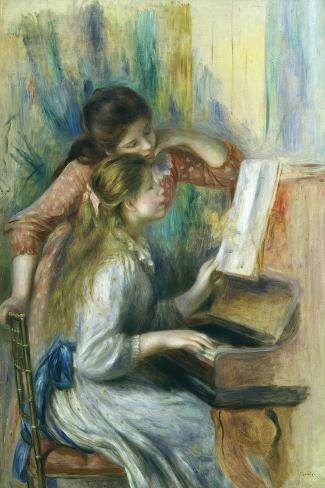 Jeunes Filles Au Piano, Young Girls at the Piano, C. 1892-Pierre-Auguste Renoir-Stretched Canvas Print
