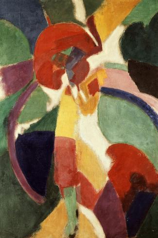 Femme ? L'Ombrelle Ou La Parisienne (Woman with Umbrella or the Parisian Lady), 1913-Robert Delaunay-Stretched Canvas Print