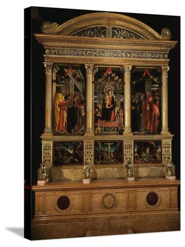 Altarpiece of Saint Zeno, with Saints Peter, Paul, John the Evangelist, Zeno-Andrea Mantegna-Stretched Canvas Print