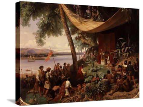 The First Mass Said in America-Pharamond Blanchard-Stretched Canvas Print
