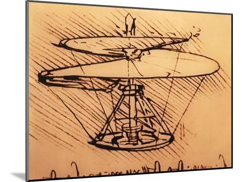Design for Spiral Screw Enabling Vertical Flight-Leonardo da Vinci-Mounted Giclee Print