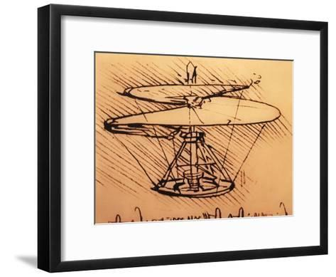 Design for Spiral Screw Enabling Vertical Flight-Leonardo da Vinci-Framed Art Print