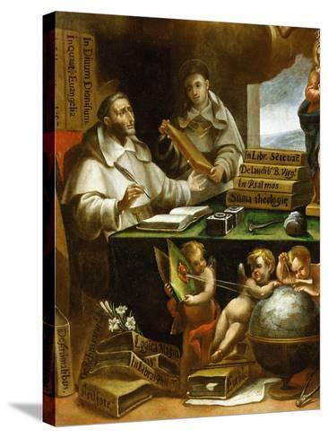 Saint Albert Writing, Apparition of Saint Paul to Saint Albert the Great and Saint Thomas Aquinas-Alonso Antonio Villamor-Stretched Canvas Print
