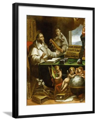 Saint Albert Writing, Apparition of Saint Paul to Saint Albert the Great and Saint Thomas Aquinas-Alonso Antonio Villamor-Framed Art Print