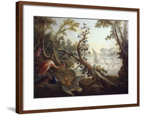 Landscape with Swans, C.1765, North Wall of the Salon Demarteau-Jean-Honor? Fragonard-Framed Art Print